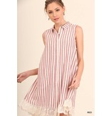 Umgee UMGEE Striped Collared Dress