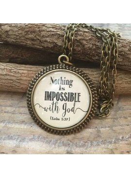 Never Lose Hope Designs Nothing Is Impossible With God Antique Bronze Necklace