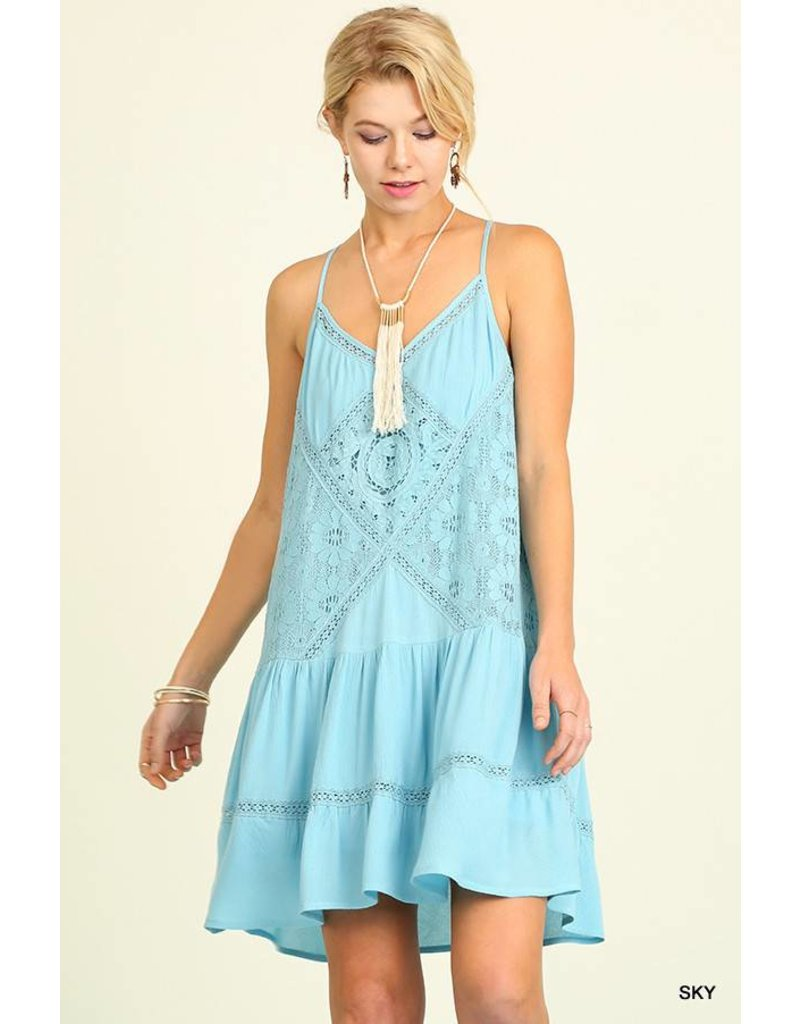 Umgee UMGEE Sleeveless Dress with Lace Details