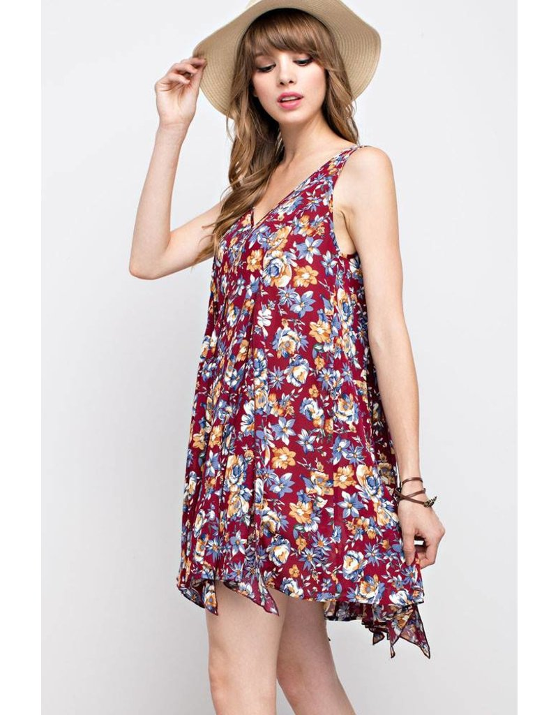 Mittoshop Mittoshop Floral Print V-Neck Flare Dress
