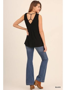 Umgee UMGEE Sleeveless Top with Open Strap Detailed Back