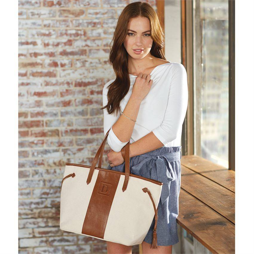Mud Pie Mud Pie Leather Initial Tote