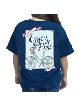 Southern Girl Prep Youth Harbor Blue Enjoy the Ride SS T-Shirt