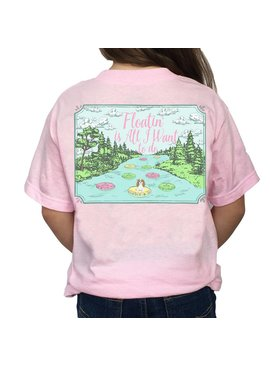 Southern Girl Prep Youth Pink Floatin' is All I Want to do SS T-shirt