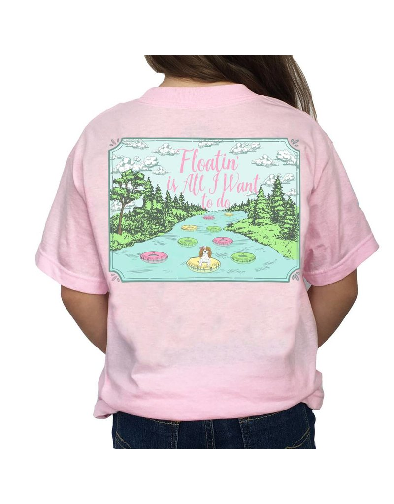 Southern Girl Prep Youth Southern Girl Prep Pink Floatin' is All I Want to do T-shirt