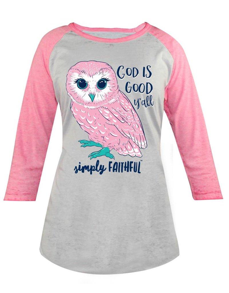 Simply Faithful SIMPLY FAITHFUL GOD IS GOOD Y'ALL OWL RAGLAN T-SHIRT