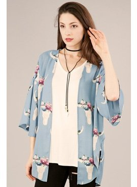 Peach Love Cream California Bullhead Printed Kimono