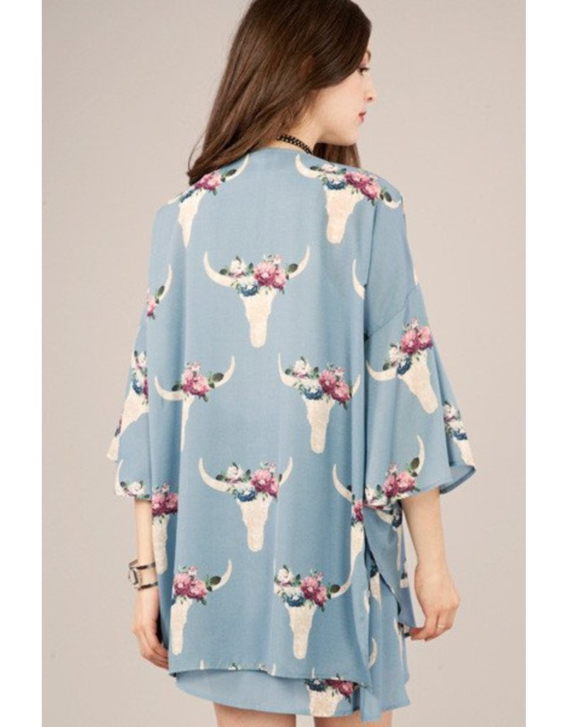 Peach Love Cream California Bullhead Printed Kimono