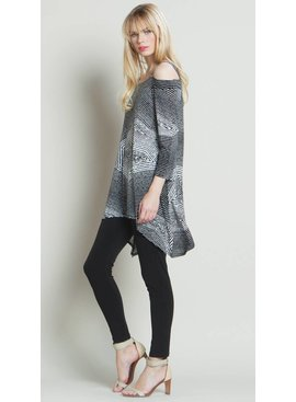Clara Sun Woo Clara Sun Woo Diamond Print Cold Shoulder Tunic
