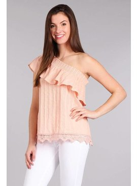 Sweet Wanderer BLUE PEPPER One Shoulder Lace Top