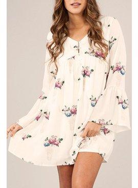 Peach Love Cream California Peach Love Ca. Bullhead Print Dress