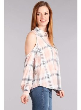 Blue Pepper BLUE PEPPER Cold Shoulder Plaid Top