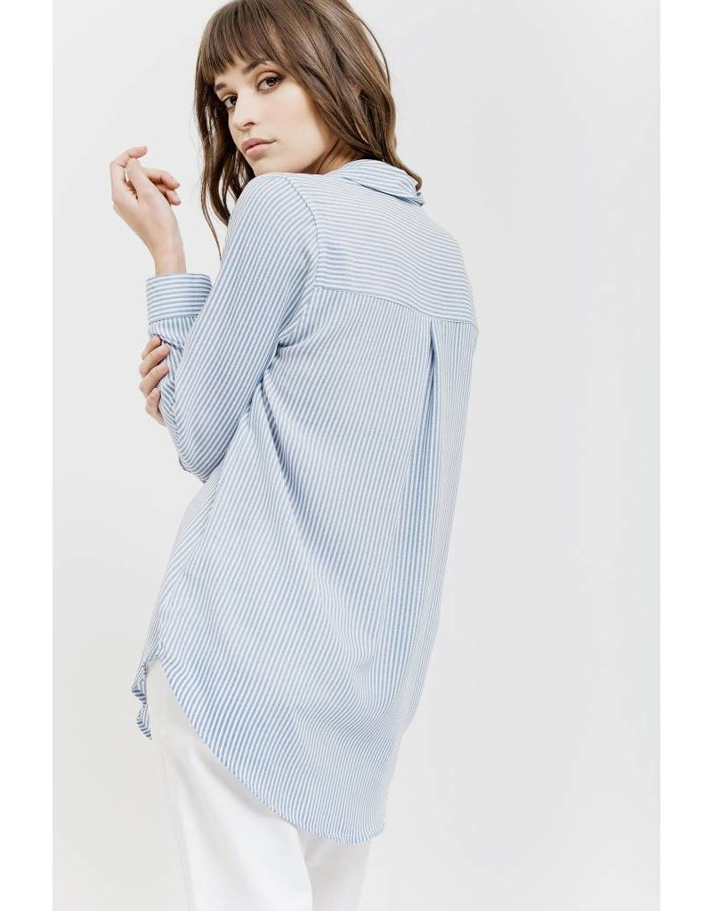Blue Pepper Woven Striped Top