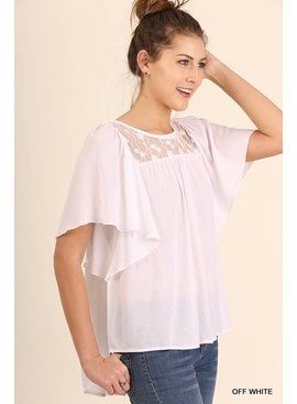 Umgee Umgee Relaxed Fit SS Top with Lace Details