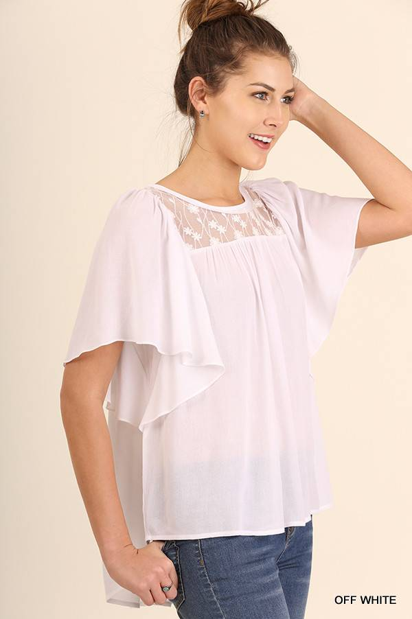 Relaxed Fit SS Top with Lace Details