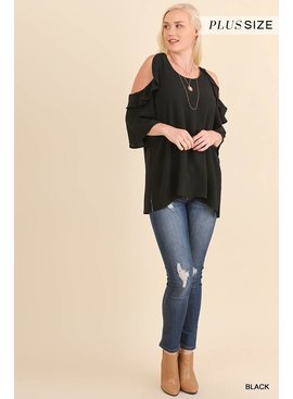 Umgee Umgee Cold Shoulder Blouse with Ruffle Details