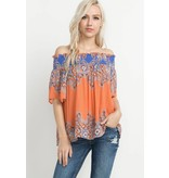 Mittoshop Paisley Print Off The Shoulder Top
