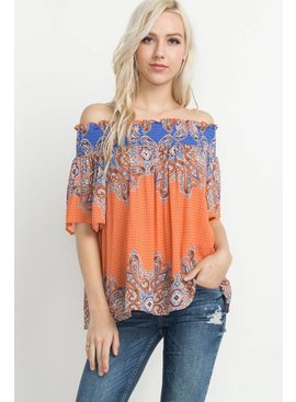 Mittoshop Mittoshop Paisley Print Off The Shoulder Top