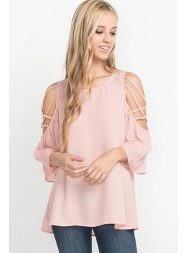 Mittoshop MITTOSHOP STRAPPY CRISSCROSS COLD SHOULDER BLOUSE