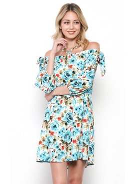Ces Femme Ces Femme Floral Printed Off Shoulder Dress