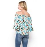 Ces Femme Ces Femme Floral Printed Off Shoulder Top