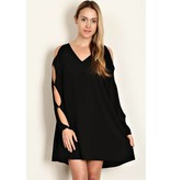 Loverichie Love Richie SOLID WOVEN V-NECK DRESS