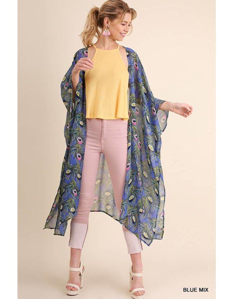 Umgee UMGEE Open Front Printed Kimono