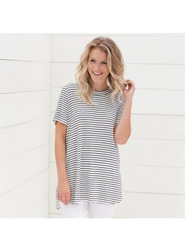Mud Pie Mud Pie Tucker Jersey Tunic Tee Black Stripe
