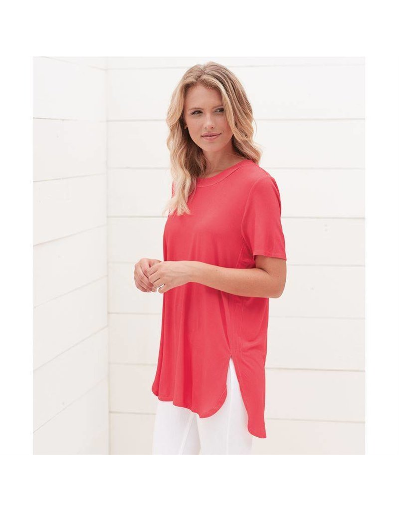Mud Pie Tucker Jersey Tunic Tee Pink