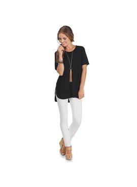 Mud Pie Tucker Jersey Tunic Tee Black