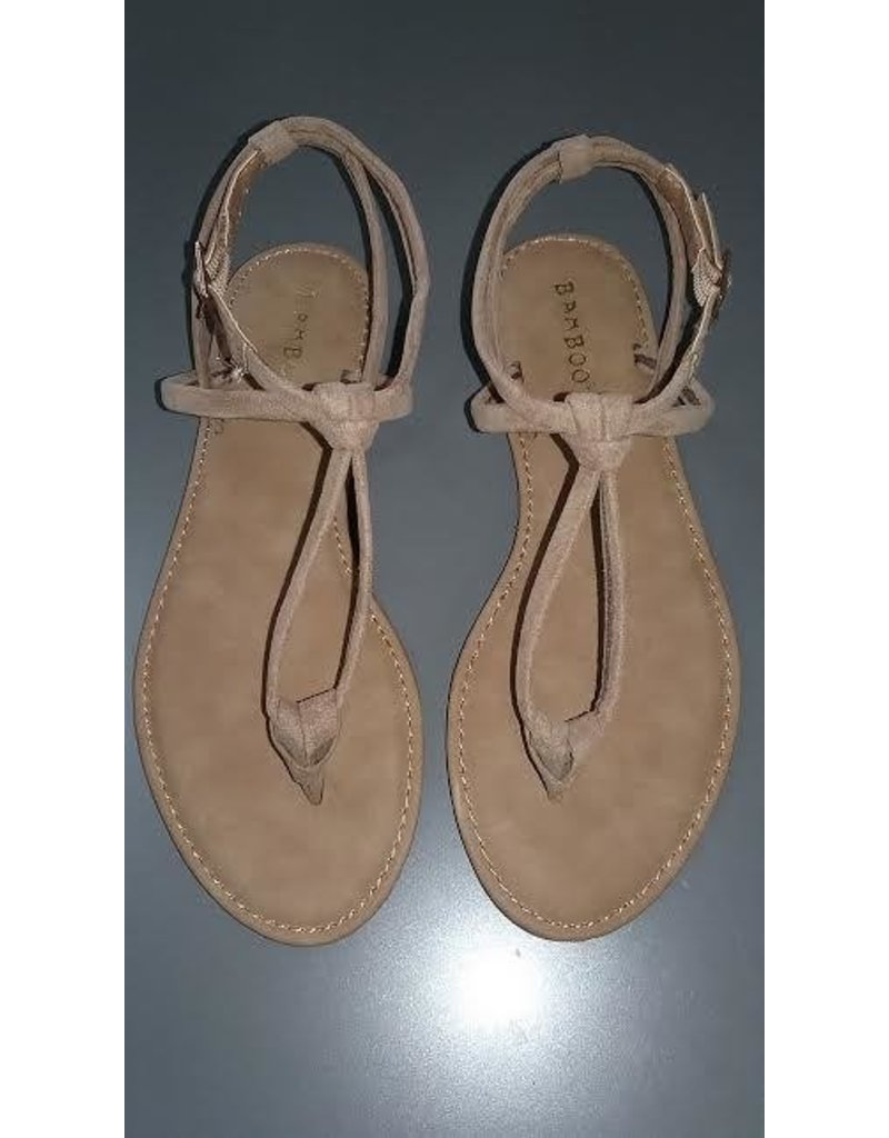 Bamboo T Strap Flat Sandals