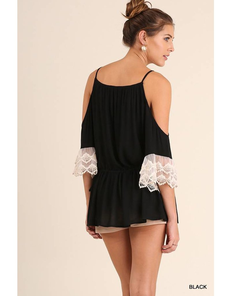 Umgee UMGEE Cold Shoulder Tunic with Lace Trim