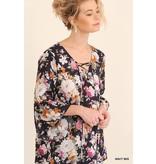 Umgee UMGEE Floral Angel-Sleeve Top