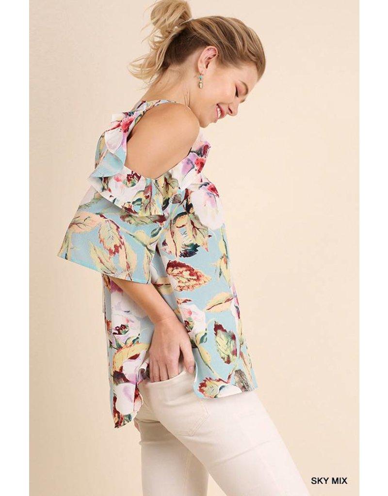 Umgee UMGEE Open Shoulder Floral Top