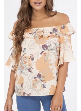 Peach Love Cream California Peach Love Ca. Off The Shoulder Floral Blouse