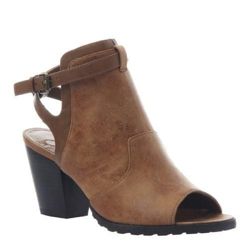 Madeline Open Back High Front Bootie by Madeline - Tan