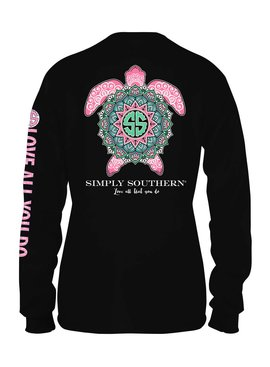Simply Southern Collection Simply Southern Boho Turtle Long Sleeve T-shirt - Black