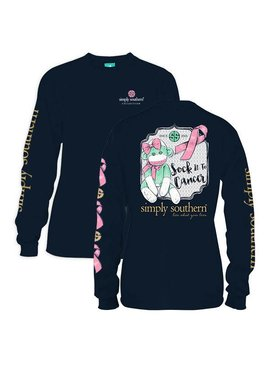 Simply Southern Collection Simply Southern Sock It To Breast Cancer Long Sleeve T-shirt -Navy