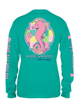 Simply Southern Collection Youth -  Simply Southern Patchwork Seahorse Long Sleeve T-shirt -SEAGLASS