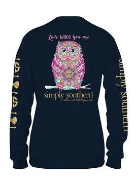 Simply Southern Collection Youth - Simply Southern Whoo Owl Long Sleeve T-Shirt - NAVY