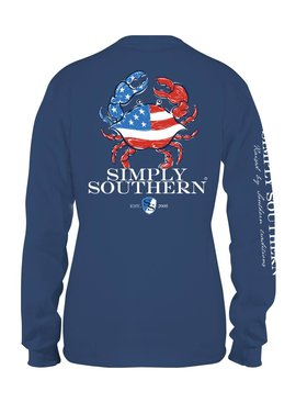 Simply Southern Collection UNISEX - Simply Southern Patriotic Crab Long Sleeve T-shirt -Moonrise