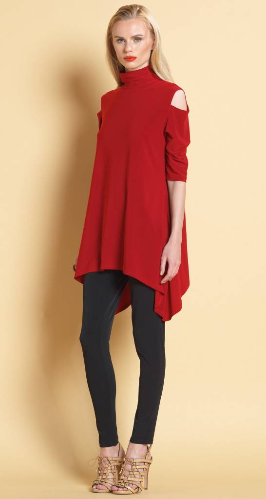 Clara Sun Woo Clara Sun Woo Mock Neck Open Shoulder Tunic