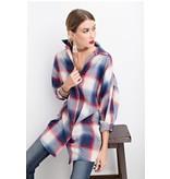 Easel EASEL Plaid Boxy Shirt Tunic