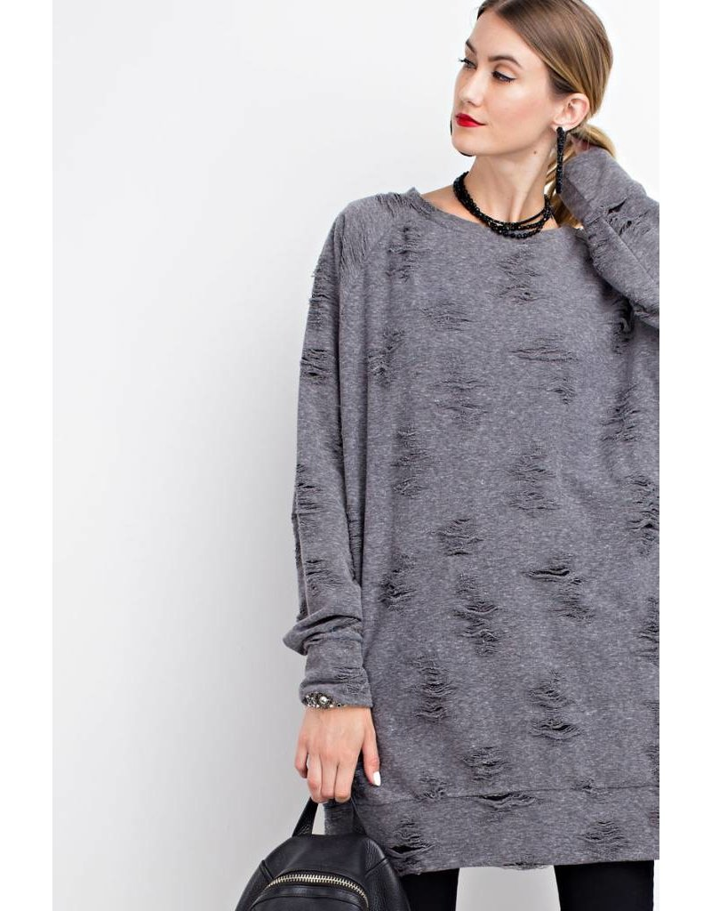 Easel Easel LS Distressed Terry Knit Dress