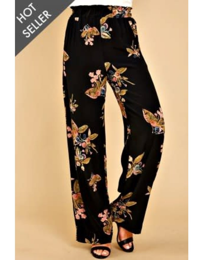 Everly Everly Multitasker Black Print Pants