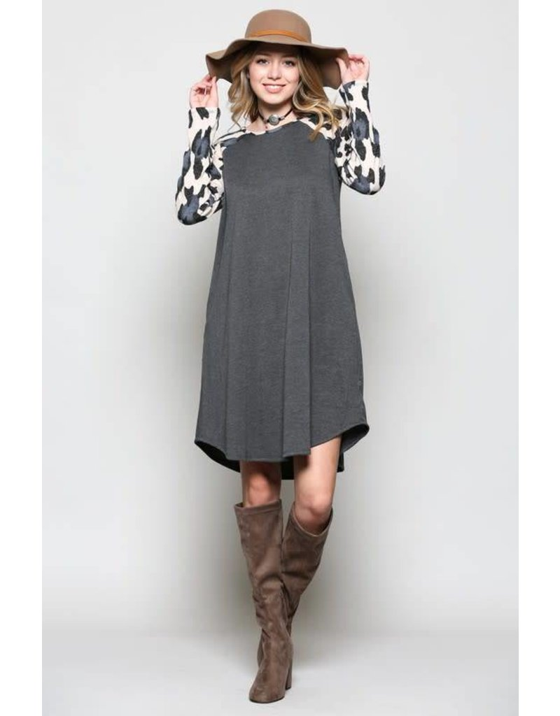 Ces Femme Animal Printed LS With Solid Pocket Dress