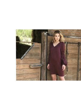 Everly Everly V Neck Shift With Elbow Smocking