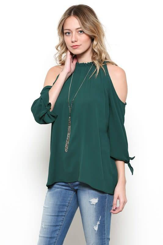 Ces Femme Ces Femme Solid Cold Shoulder Top