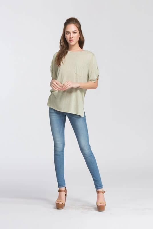 Cherish Knit Top w/Twist Sleeve