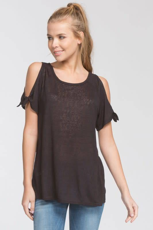 Cherish Cold Shoulder Tie Top
